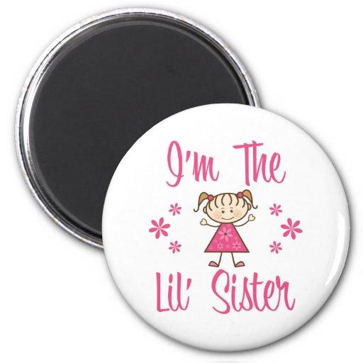 Lil Sis Pink Girls Fridge Magnet