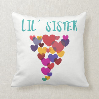 Lil' Sister Little Sister Floating Hearts Throw Pillow