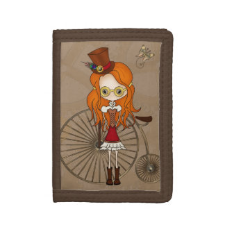 'Lil Steampunk Girl and Penny Farthing Bicycle Trifold Wallet