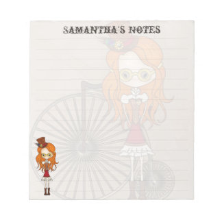 'Lil Steampunk Girl with Penny Farthing Bicycle Notepad