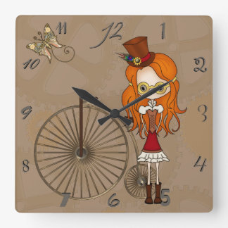 'Lil Steampunk Girl with Penny Farthing Bicycle Wallclock