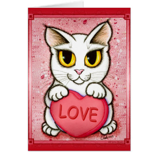 Lil Valentine White Cat Candy Heart Love Art Card