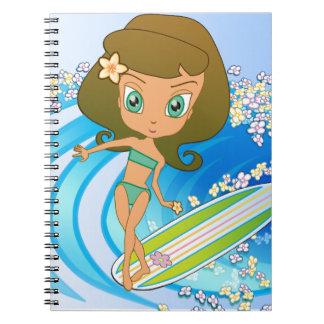 Lil' Wahine Wave Writer Spiral Notebook