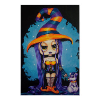 Lil Witch Adorable Fantasy Art Print