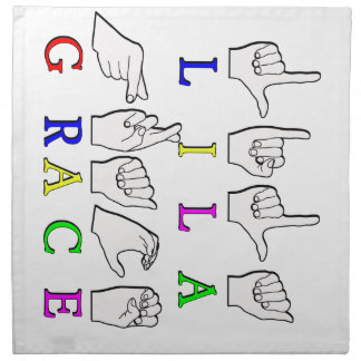 LILA GRACE FINGERSPELLED ASL SIGN NAME NAPKIN
