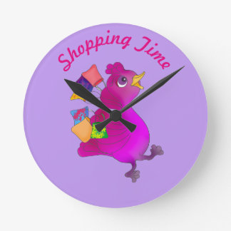 Lila loves Shopping by The Happy Juul Company Round Clock
