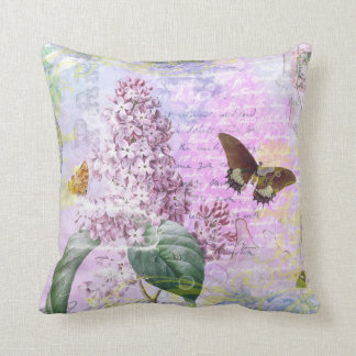 Lilac and Butterfly Vintage Paris Throw Pillow