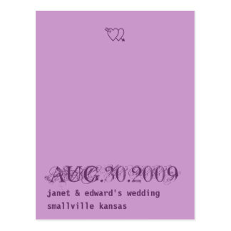 Lilac and Deep Purple Save the date postcard