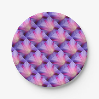 Lilac and Fuschia Morning Glory in Macro 7 Inch Paper Plate
