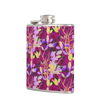 Lilac and Gold Leaves on Hot Pink Hip Flask