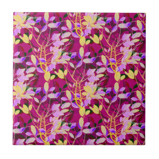 Lilac and Gold Leaves on Hot Pink Tile