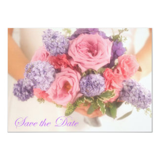 "Lilac and Pink Bouquet Save The Date Announcement 4.5"" X 6.25"" Invitation Card"