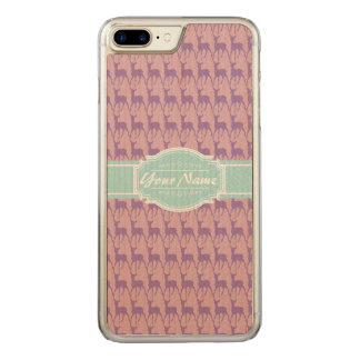 Lilac and Pink Deer, Mint Name Carved iPhone 7 Plus Case