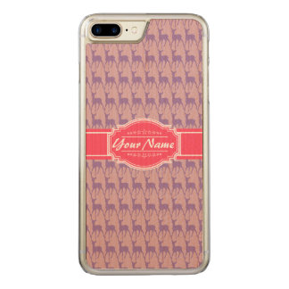 Lilac and Pink Deer, Name Carved iPhone 7 Plus Case