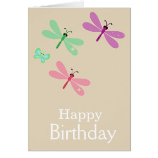 Lilac And Pink Happy Birthday Dragonflies Card