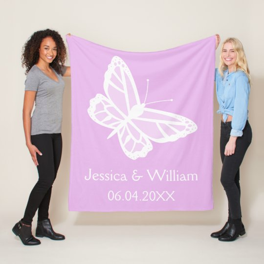 Lilac And White Butterflies Wedding Fleece Blanket