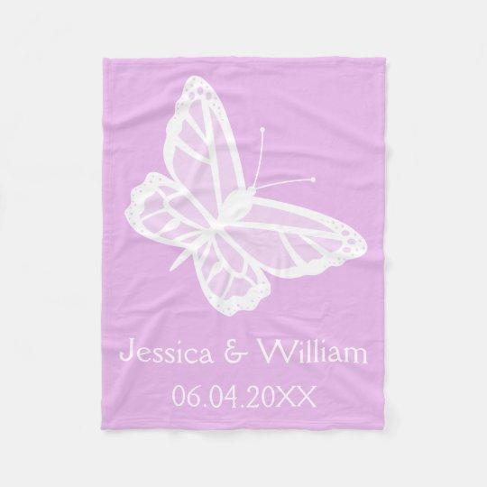Lilac And White Butterflies Wedding Fleece Blanket
