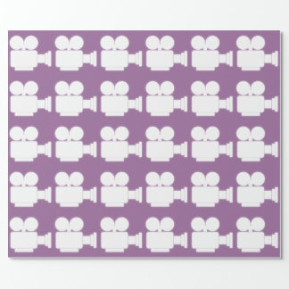 LILAC AND WHITE CINE CAMERA MOTIF WRAPPING PAPER