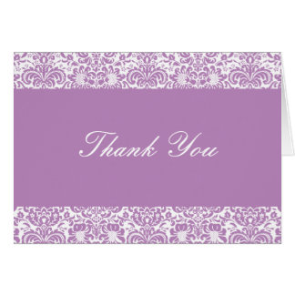Lilac and White Damask Thank You Note Card