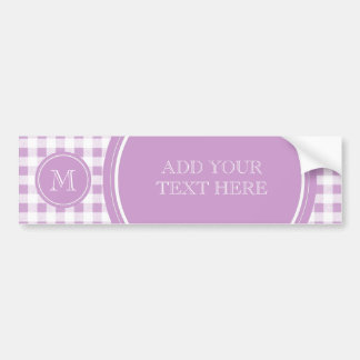 Lilac and White Gingham, Your Monogram Bumper Sticker