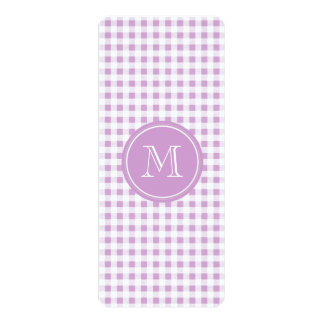 Lilac and White Gingham, Your Monogram 4x9.25 Paper Invitation Card