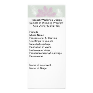 Lilac and White Peacock Feathers   Wedding Program