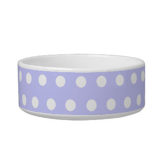 Lilac and White Polka Dot Pattern. Spotty. Cat Water Bowls