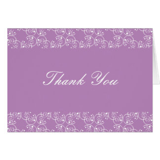 Lilac and White Spiral Swirls Thank You Note Card