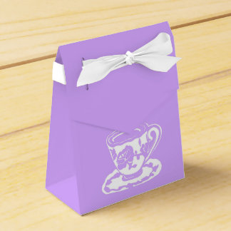 Lilac and White Teacup Tent Favor Boxes