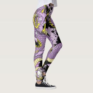 Lilac and Yellow Splash Dragon Tattoo Leggings