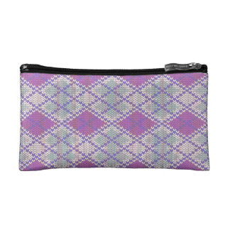 Lilac Argyle Knit Small Cosmetic Bag