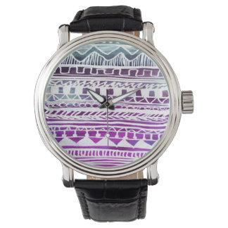 Lilac Aztec Pattern Wristwatch