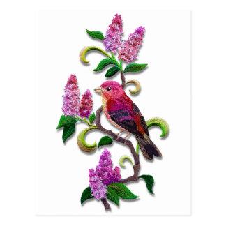 lilac bird postcard