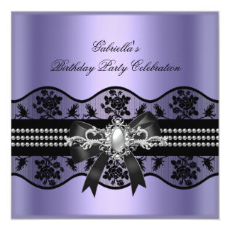 "Lilac Black Lace Pearl Elegant Birthday Party 5.25"" Square Invitation Card"