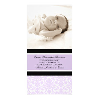 Lilac Black Thank You Baby Shower Photo Cards