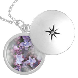 Lilac blooming silver plated necklace