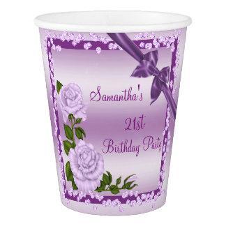 Lilac Blossom, Bows & Diamonds 21st Birthday Paper Cup