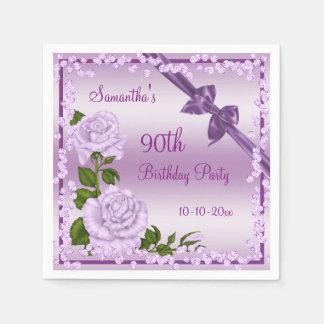 Lilac Blossom, Bows & Diamonds 90th Disposable Napkin