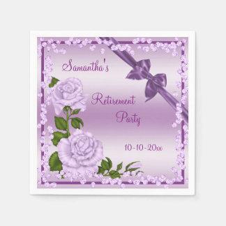 Lilac Blossom, Bows & Diamonds Retirement Paper Napkins