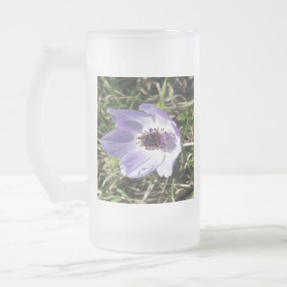 Lilac Blue Anemone Coronaria Wild Flower Frosted Glass Beer Mug