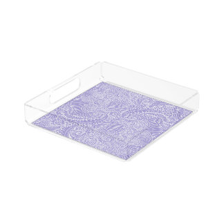 Lilac blue Floral twists Acrylic Tray
