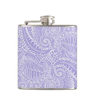 Lilac blue Floral twists Hip Flask