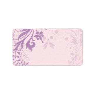 Lilac Blush Floral Wedding Blank Address Label