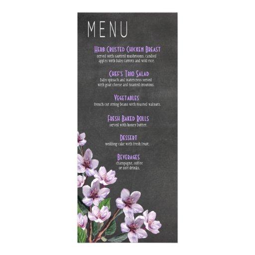 Lilac Branches Chalkboard Wedding Menu Personalized Invite