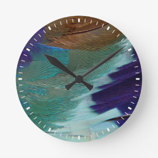 Lilac Breasted Roller feathers Round Clock