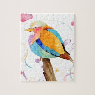 Lilac Breasted Roller Watercolor Jigsaw Puzzle
