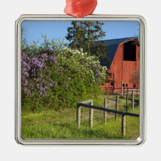 Lilac bushes in bloom and magpies in the trees Silver-Colored square ornament