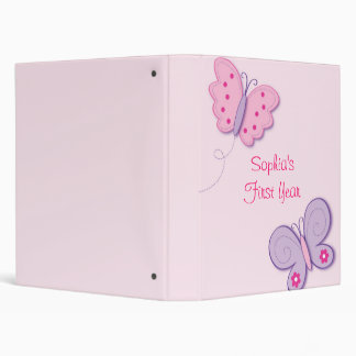 Lilac Butterfly Baby Photo Album Scrapbook 3 Ring Binders