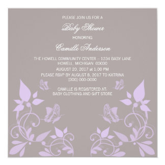 Lilac Butterfly Floral Baby Shower Invite