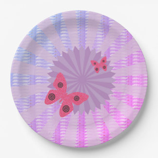 Lilac Butterfly Paper Plate For Kids Party